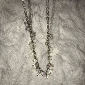 Silver Necklace with Clear Beads